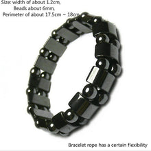 Load image into Gallery viewer, 1Pc Weight Loss Round Black Stone Magnetic Therapy Bracelet Health Care Magnetic Hematite Stretch Bracelets For Men Women 2018