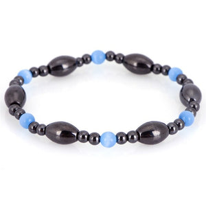 1Pc Weight Loss Round Black Stone Magnetic Therapy Bracelet Health Care Magnetic Hematite Stretch Bracelets For Men Women 2018