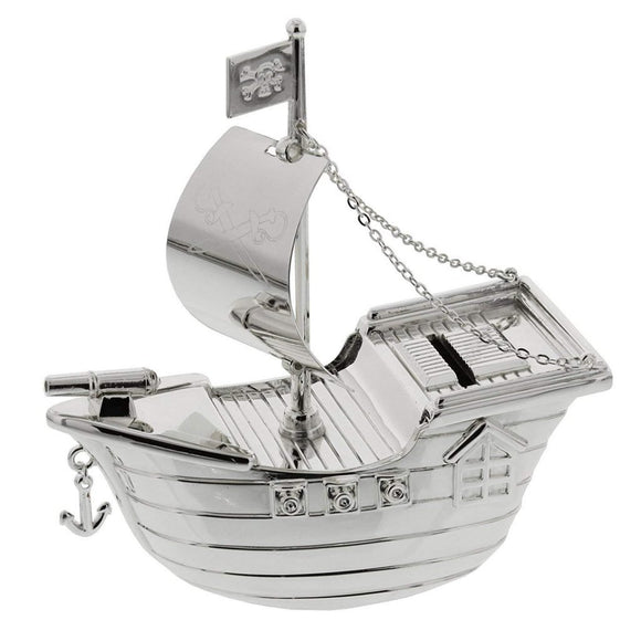 Pirate Ship Money Box - Silver Plated