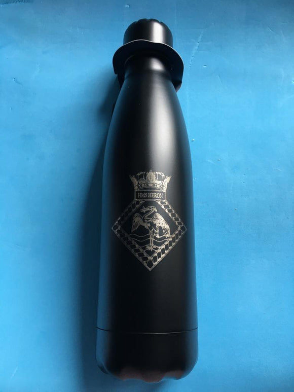 Matt Black 500ml Double Wall Thermos Bottle - Writing