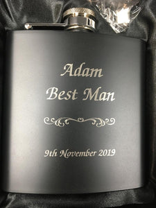 Hip Flask - Matt Black - 6oz - Writing