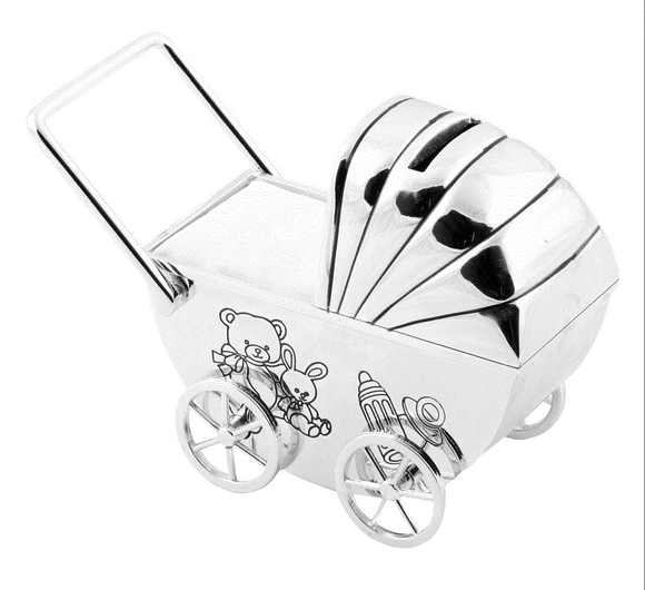 Pram Money Box - Silver Plated