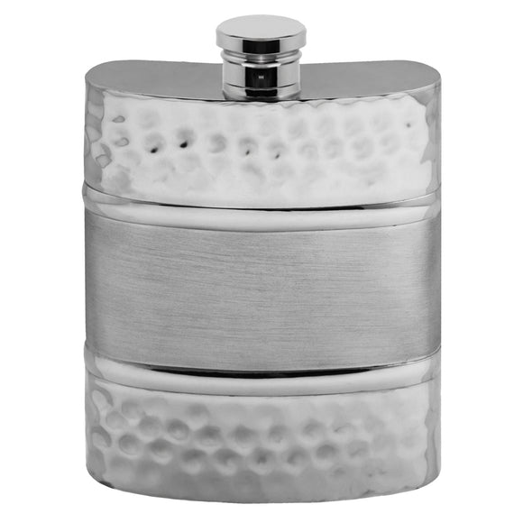 6oz Pewter Hip Flask Brushed