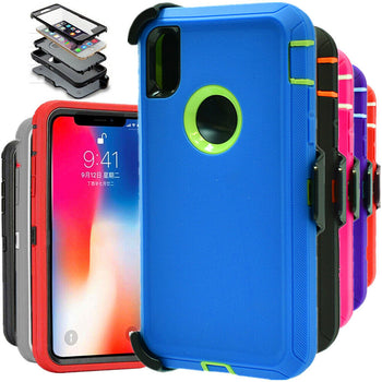 For iPhone XS XR MAX Shockproof Hard Case Cover Belt Clip Fits Otterbox defender