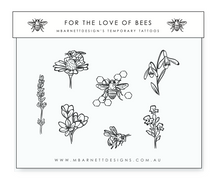 Load image into Gallery viewer, For the Love of Bees Temporary Tattoos
