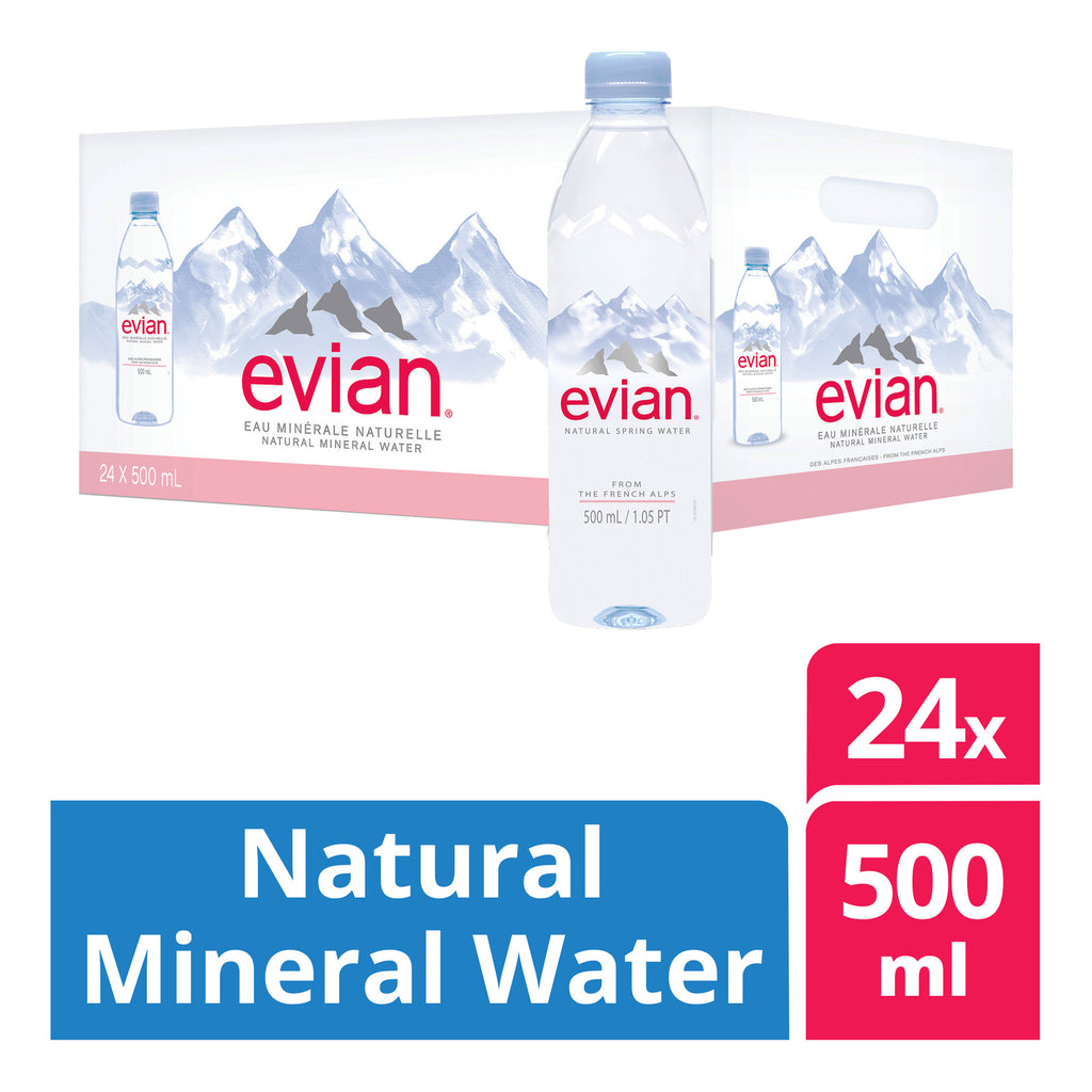 Evian Natural Mineral Water (24 x 500ml)