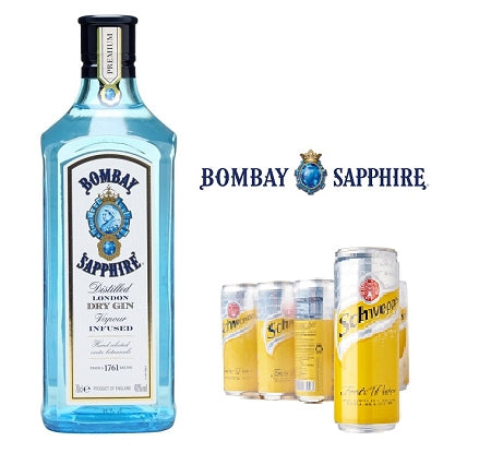 Gin & Tonic Bundle (1 x Bombay Sapphire 700ml & Schweppes Tonic 24 Can x 330ml)