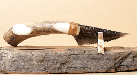 Translucent Obsidian Knife with Deer Antler Handle