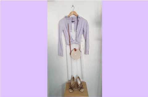 RETOLD beach look with pin stripe lavender blouse.