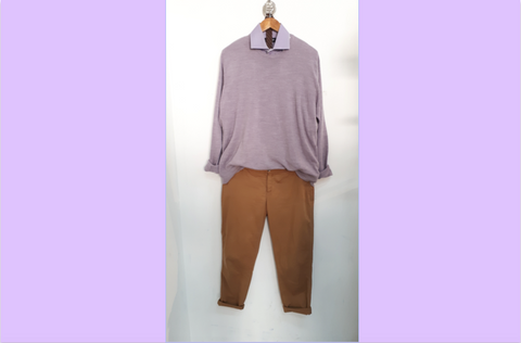 RETOLD Men's outfit with M&S dusty purple jumper and light purple collar shirt.