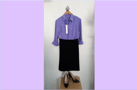 RETOLD office outfit with purple Versace blouse.