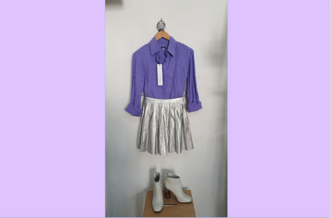 RETOLD party look with silver skirt and purple Versace blouse.