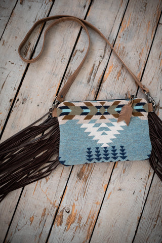 crossbody made with Pendleton wool and leather fringe