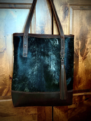 Hair on hide large tote