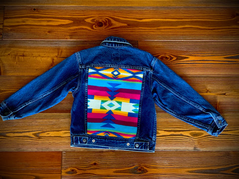 Pendleton wool fabric kids Jean jacket