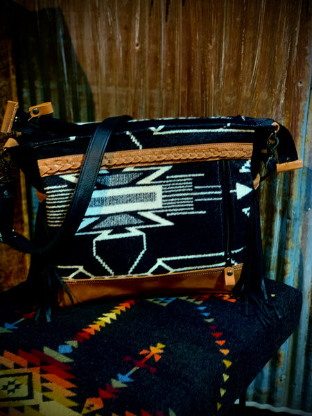 Black and white hair on hide and Pendleton fabric tote