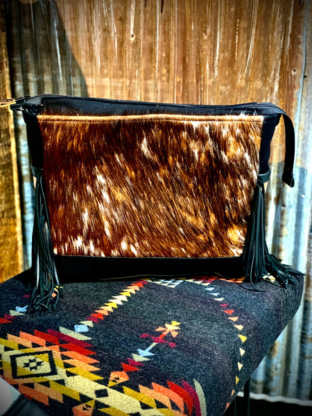 Cowhide and Pendleton fabric crossbody tote