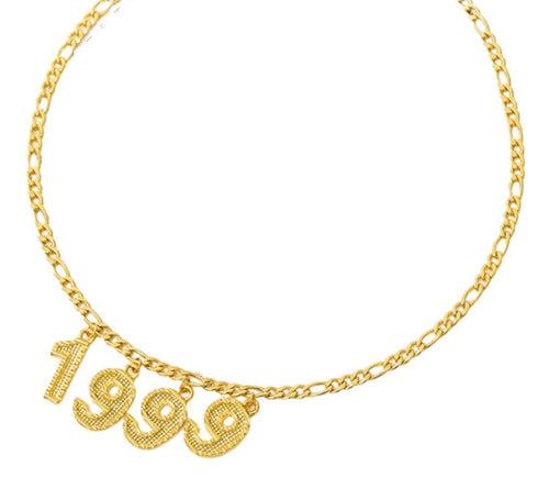 90s birth year necklace stainless steel figaro chain