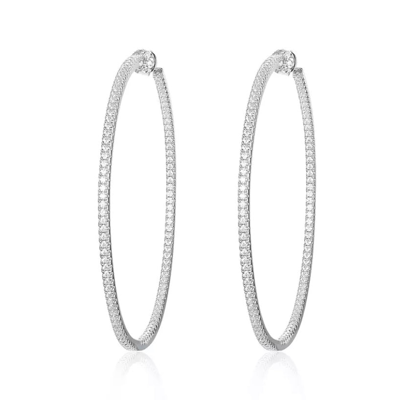 Diamond Princess Hoop Earrings