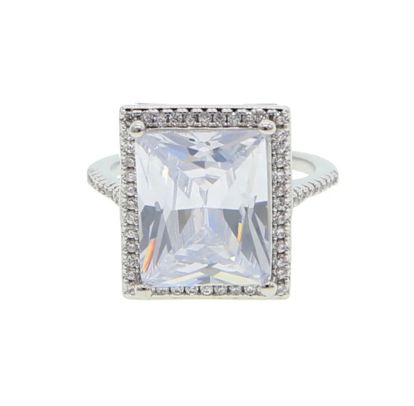 bling baguette emerald cut ring large cocktail ring