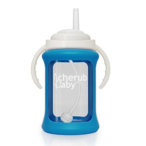 Borraccia in Vetro con Guaina Termica e Cannuccia 240 ml Blu | CHERUB BABY | RocketBaby.it
