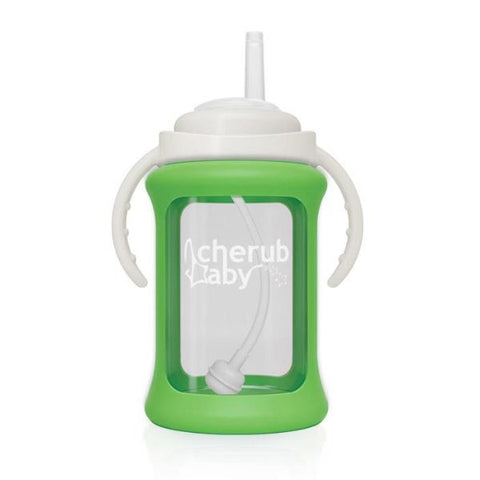Borraccia in Vetro con Guaina Termica e Cannuccia 240 ml Verde | CHERUB BABY | RocketBaby.it