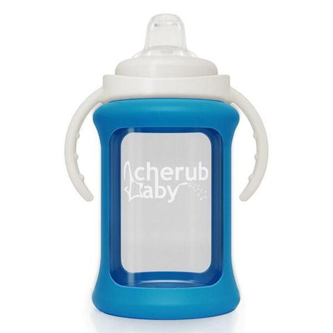 Sippycup in Vetro con Guaina Termica 240 ml Blu | CHERUB BABY | RocketBaby.it