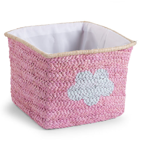 Cesto Contenitore Intrecciato 30X33X33 Pink Star E Cloud | CHILDHOME | RocketBaby.it