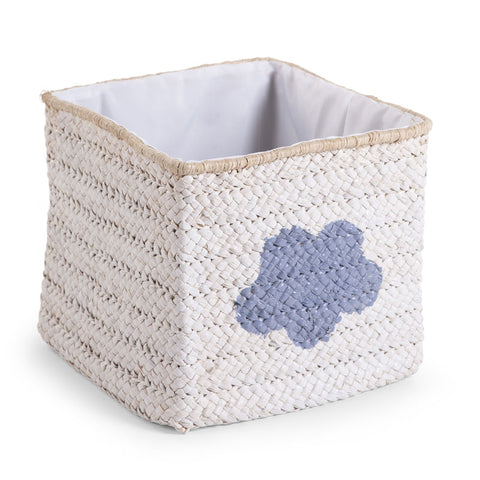 Cesto Contenitore Intrecciato 30X30X33 White Star E Cloud | CHILDHOME | RocketBaby.it