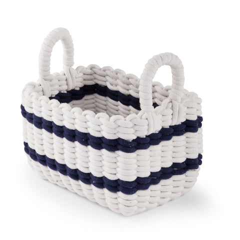 Cesto Contenitore Intrecciato White E Navy 32X20X20 | CHILDHOME | RocketBaby.it
