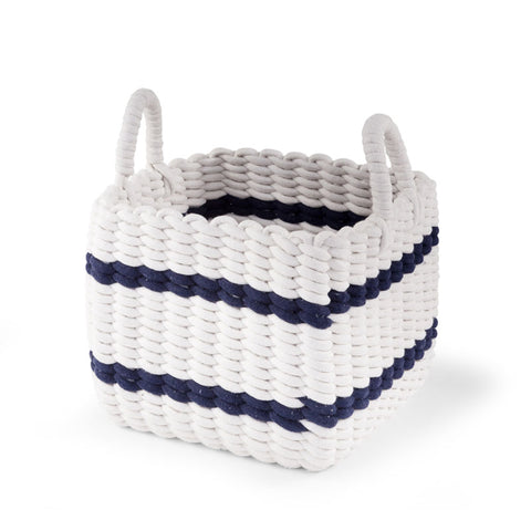 Cesto Contenitore Intrecciato White E Navy 32X32X29 | CHILDHOME | RocketBaby.it