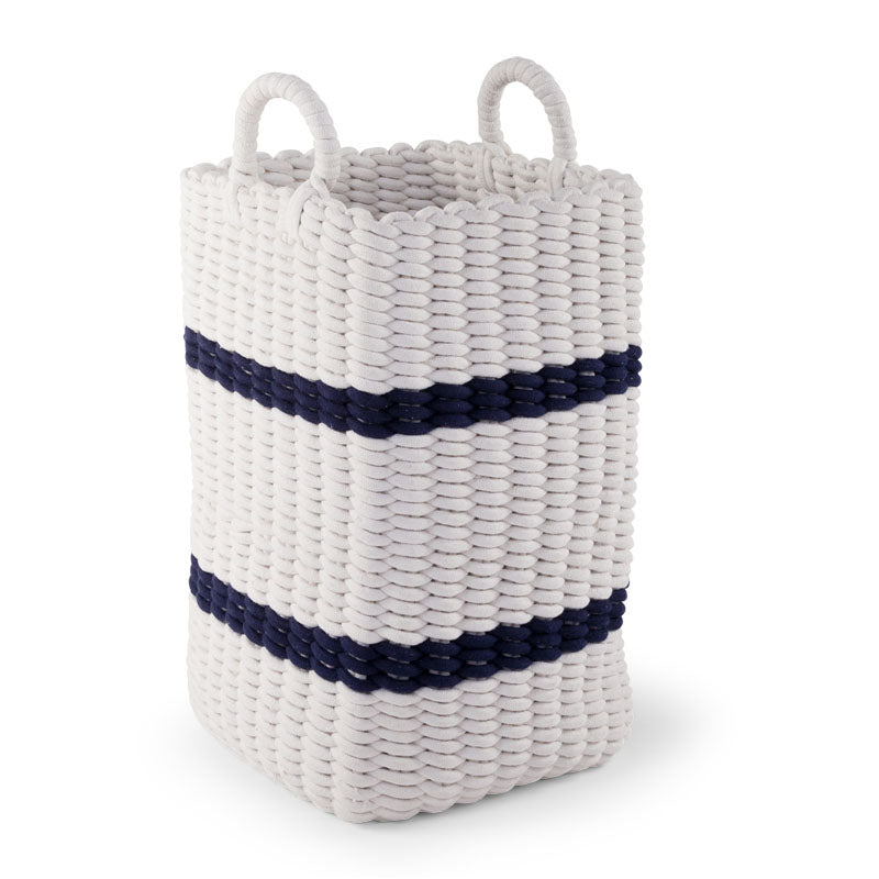 Cesto Contenitore Intrecciato White E Navy 32X32X60 | CHILDHOME | RocketBaby.it