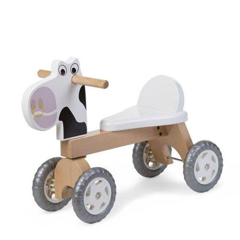 Bicicletta in Legno Naturale Mucca Bianca | CHILDHOME | RocketBaby.it