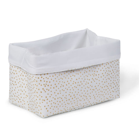 Cesto Contenitore 32X20X20 White Small Gold Dots | CHILDHOME | RocketBaby.it