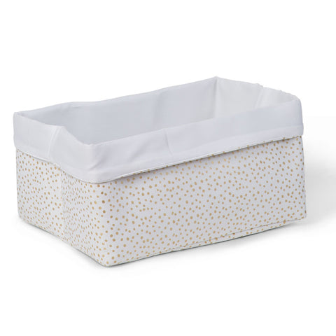 Cesto Contenitore 40X30X20 White Small Gold Dots | CHILDHOME | RocketBaby.it