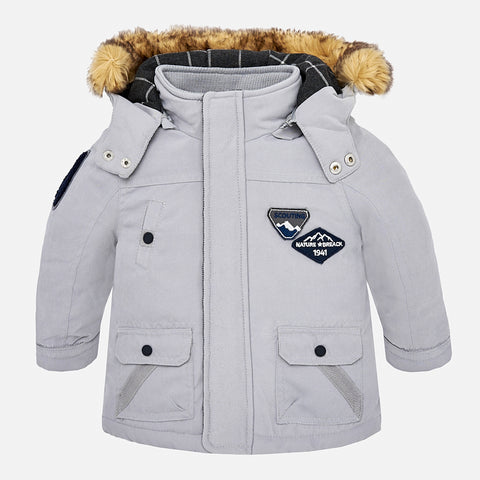 Cappotto Parka Con Cappuccio Argento | MAYORAL | RocketBaby.it