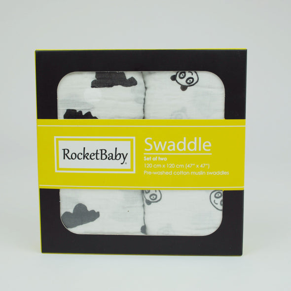 Set 2 Teli Multiuso Swaddle Nuvoletta e Baby Panda |  | RocketBaby.it