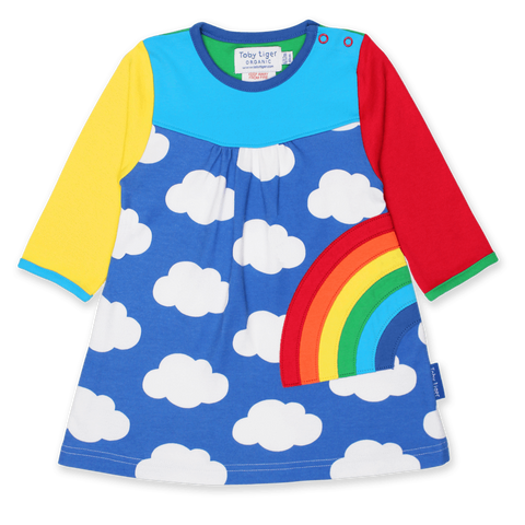 Vestito in Cotone Multi Rainbow Applique | TOBY TIGER | RocketBaby.it