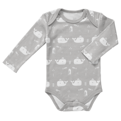 Body Manica Lunga Balena Grigio | FRESK | RocketBaby.it