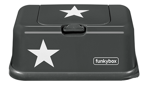 Box PortaSalviettine Umidificate Graphite White Star | FUNKY BOX | RocketBaby.it