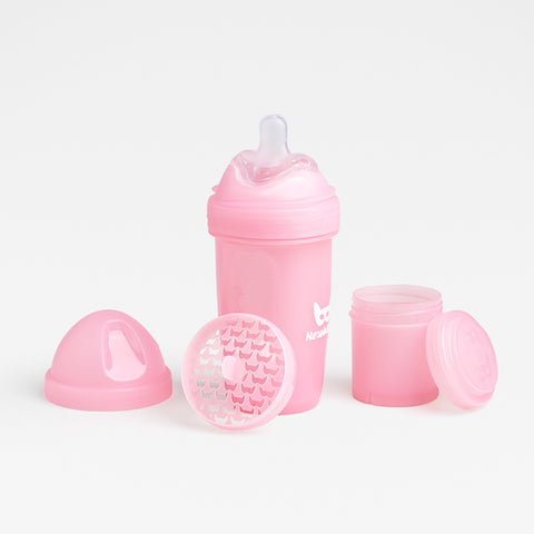 Biberon Anticoliche con Contenitore per il Latte in Polvere 240 ml Pink | HEROBILITY | RocketBaby.it