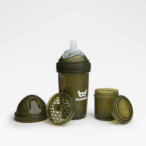Biberon Anticoliche con Contenitore per il Latte in Polvere 240 ml Army Green | HEROBILITY | RocketBaby.it