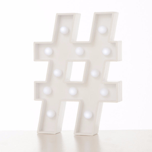Lampada Marquee LED Hashtag Bianco - RocketBaby - 1