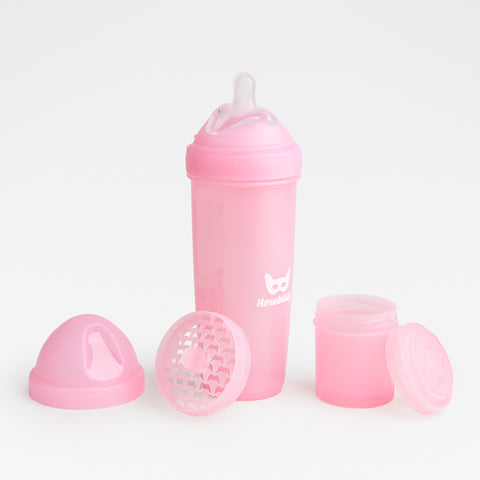 Biberon Anticoliche con Contenitore per il Latte in Polvere 340 ml Pink | HEROBILITY | RocketBaby.it