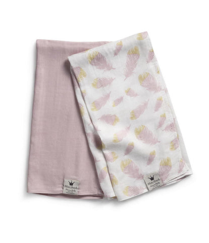 Set 2 Copertine SWADDLE Bambù Rosa con Piume Feather Love - RocketBaby