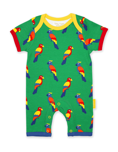 Tutina Corta per l'Estate in Cotone Parrot Print | TOBY TIGER | RocketBaby.it