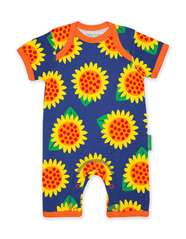Tutina Corta per l'Estate in Cotone Sunflower Print | TOBY TIGER | RocketBaby.it