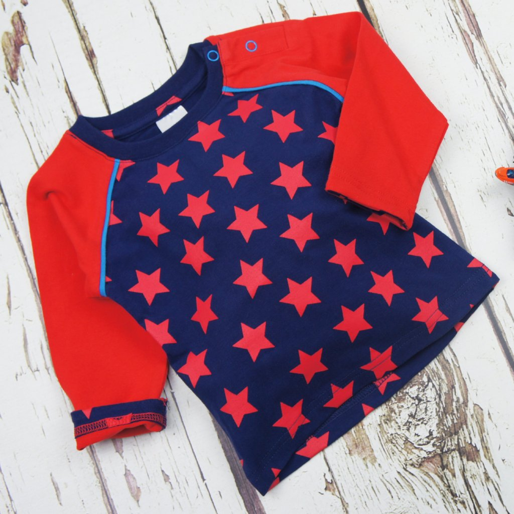 Maglietta A Maniche Lunghe Navy E Red Star | BLADE&ROSE | RocketBaby.it