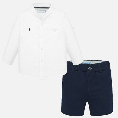 Completo Camicia e Bermuda Bianco e Navy | MAYORAL | RocketBaby.it