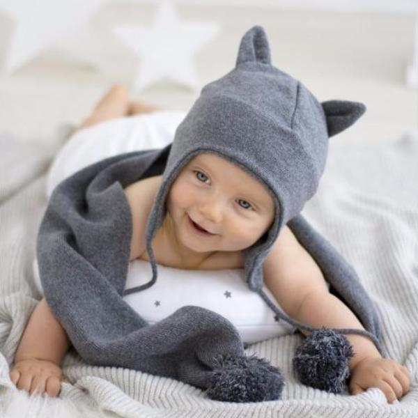 Cashmere hat with grey ears – Rocketbaby 1de1ca7c99cc